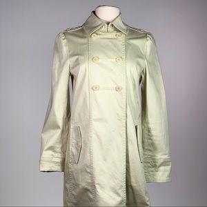 Mint green long trench coat